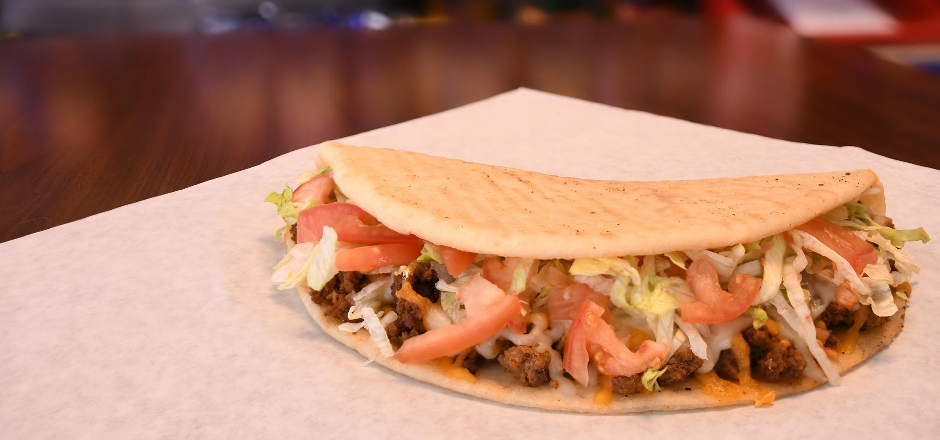 Beef taco with veggies