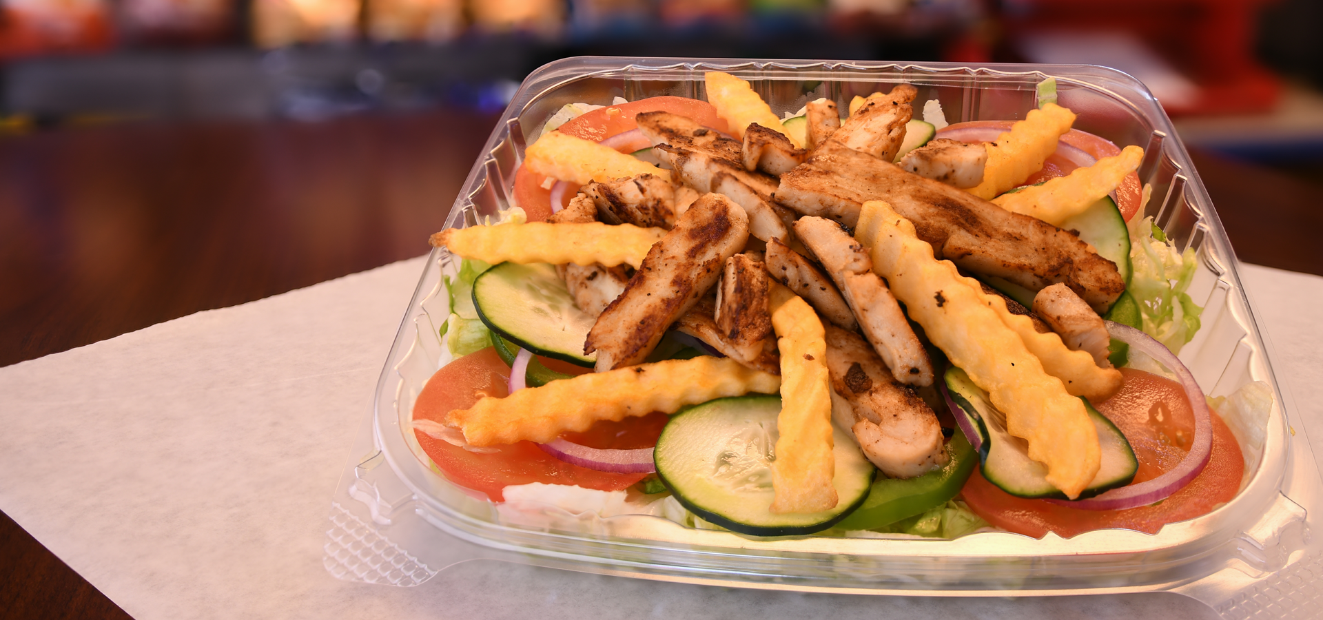 Grilled Chicken salad with fries