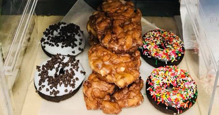 Doughnuts and desserts stacked